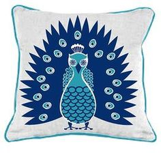 "Bring a splash of contemporary style to your duvet, settee, or sofa with this inspired pillow from Room Service, covered in crisp cotton with a decadently plush fill.    Product: Pillow   Construction Material: 100% Cotton with polyester insert   Color: Blue  Features: Will enhance any space  Dimensions: 20"" x 20"" Note: Insert included"