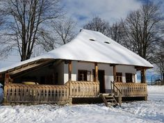 Casa din Bucovina 1 by BogdanEpure on DeviantArt Small Cottage Homes, Bucharest Romania, Architectural Section, Round House, Rustic Design, Traditional House, Cabana, House Plans, House Design