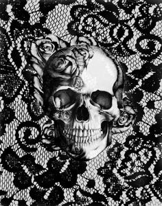 Kristy Patterson skull art print ...Amazing! Love this! #b&w