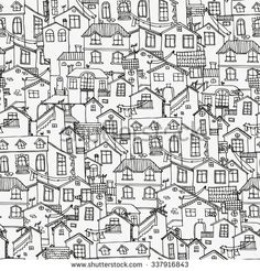 Pattern with hand drawn doodle houses. Seamless drawing background in black and white. Illustration is in eps8 vector mode. - stock vector