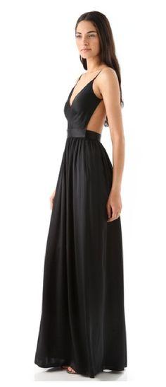 Open back plain dress