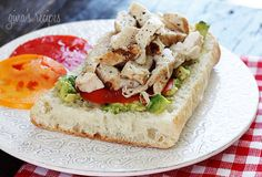 Grilled Chicken Sandwich with Avocado and Tomato Gina's Weight Watcher Recipes Servings: 1 • Size: 1 sandwich • Points +: 6 pts • Smart Points: 5 Calories: 252.9 • Fat: 5.3 g • Protein: 18.2 g • Carb: 32.3 g • Fiber: 2.6 g • Sugar: 0.1 g Sodium:  374 mg (without salt)