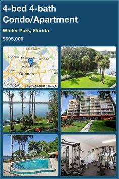 4-bed 4-bath Condo/Apartment in Winter Park, Florida ►$695,000 #PropertyForSale #RealEstate #Florida http://florida-magic.com/properties/8541-condo-apartment-for-sale-in-winter-park-florida-with-4-bedroom-4-bathroom