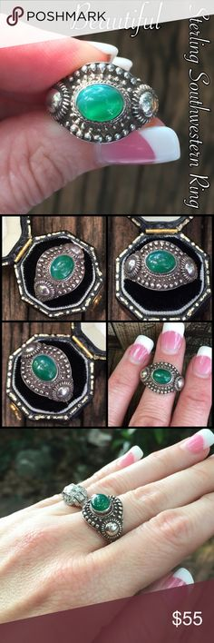 Vintage Sterling Silver Southwestern Jade? Ring This is a Beautiful Vintage Sterling silver Southwestern Signed Jade, Emerald(?) Stone Ornate Ring. Size 8. Marked 925 JQ. Wow, this ring is stunning & the stone & detail around it are amazing! I wish it was my size because I would keep it lol! Not sure if the stone is Jade or Emerald. The ring is in great vintage condition! Thanks for looking! Please ask any ?'s b4 purchase. I ship out same day! Please make REASONABLE offer using the offer…