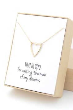 Gold Heart Necklace - Heart Outline Necklace - Small Heart Necklace - Mother of the Groom GIft - Thank you for raising the man of my dreams by powderandjade on Etsy https://www.etsy.com/listing/211577441/gold-heart-necklace-heart-outline
