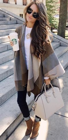 #fall #outfits women's brown and gray cardigans; white leather handbag