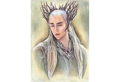 Original drawing - Elven King, elf fantasy, original portrait, signed art, coloured pencils, fantasy art