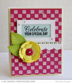 Birthday Greetings, Blueprints 14 Die-namics, Layered Leaves Die-namics, Layered Rose Die-namics, Stitched Rectangle STAX Die-namics, Small Checkerboard Stencil - Melody Rupple  #mftstamps