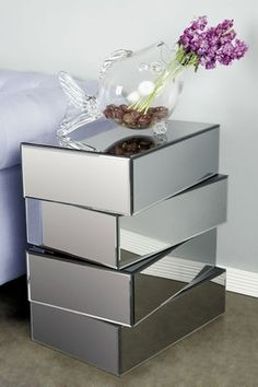 Mirrored Clement Side Table - Silver
