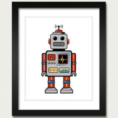 I want to make this into a crosstitch for my office :)  (Robot Print / Robot Poster / Retro Robot - 8x10 Art Print)