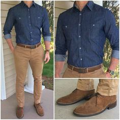 Today's outfit features this perfect denim shirt from and these awesome suede chukka boots❗️ 🔥🔥🔥 Happy Easter… Denim Shirt Men, Men's Denim, Denim Style, Business Casual Men, Men Casual, Business Style, Terno Slim, Style Masculin, Herren Outfit