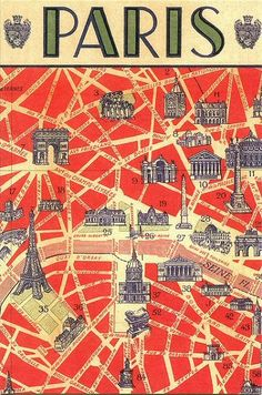 Creative Postcard, Paris, Map, France, and Typography image ideas & inspiration on Designspiration Paris Map, Paris Travel, France Travel, Paris Poster, Travel City, Retro Poster, Vintage Travel Posters, Vintage Postcards, Vintage Paris