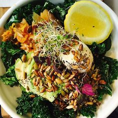 """""""Monday morning bowls of pure goodness! Kick start your mornings with food that fuels your body and mind!  #love #vegankimchi #avocado #kale #spinach #sydneybreakfast #thevenusbowl #nourish #wellness #healthy"""" Photo taken by @venuswholefoods on Instagram, pinned via the InstaPin iOS App! http://www.instapinapp.com (09/20/2015)"""