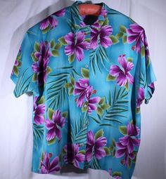 A Personal Touch Size 4X Teal Hawaiian Floral Tropical Print Blouse Shirt USA #APersonalTouch #Blouse #Career