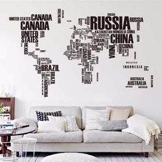 adesivo de parede mapa mundi 190x116cm com letras
