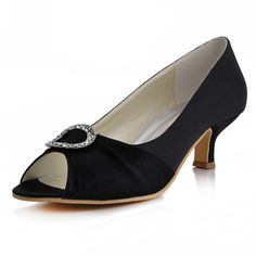 """Dyeable Gorgeous 2"""" Crystal Brooch & Peep-toe Pumps - Ivory Casual shoes (11 colors)"""