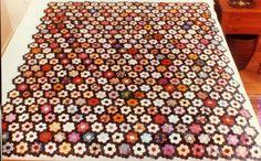 Miniature Hexagon Quilt Top, Kentucky Quilt Project; c. 1870, silk & velvet; 147 x 132 cm; made by Minnie Kellogg and/or Margaret Todd Kellogg of Kentucky