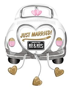 Big discounts on Just Married Wedding Car Foil Ballon - Packaged by Mayflower Distributing. Item: Name: Just Married Wedding Car Foil Ballon - Packaged (Each); Mr And Mrs Balloons, Mylar Balloons, Wedding Balloon Decorations, Wedding Balloons, Balloon Party, Mr Mrs, Just Married Auto, Wedding Images, Wedding Cards