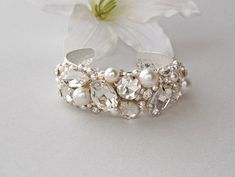 Wedding Bracelet - Bridal Bracelet, Bangle Bracelet, Crystal Bracelet, Swarovski Pearls, Vintage Wedding Bracelet - CARRIE