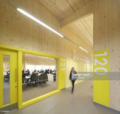 View into classroom corridor, Waingels College, Reading, United Kingdom, Architect: Sheppard Robson, 2011.