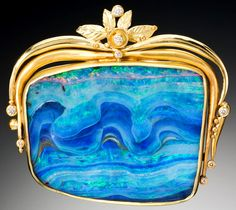 Gold, diamond, and opal brooch - Judith Kaufman