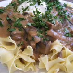 "Portobello Mushroom Stroganoff | ""I thought this recipe was great! My husband agreed and said it was better than his family's beef stroganoff recipe!"""