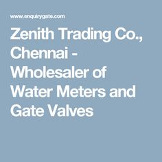 Zenith Trading Co., Chennai - Wholesaler of Water Meters and Gate Valves