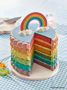 The rainbow cake never stops being fab! This recipe is from our Kids' Birthday Cakes book. The rainbow cake never stops being fab! This recipe is from our Kids' Birthday Cakes book. Pretty Cakes, Cute Cakes, Beautiful Cakes, Yummy Cakes, Amazing Cakes, Sweet Cakes, Rainbow Food, Rainbow Cakes, Rainbow Stuff