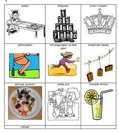 spelletjeskaart koningsspelen Kings Day, Infant Activities, Preschool, Ads, Scouting, Comics, Holland, Queen, Carnival