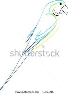 Simple line drawing of blue and gold macaw
