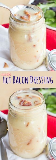 Maple Hot Bacon Dressing - A Twist On An Old Amish Recipe, This Warm And Creamy Salad Dressing Recipe Is Sweet, Tangy, Salty, And Smoky Gluten Free And Dairy Free. Gluten Free Salad Dressing, Hot Bacon Dressing, Creamy Salad Dressing, Salad Dressing Recipes, Salad Dressings, Salad Recipes, Party Recipes, Dip Recipes, Recipies