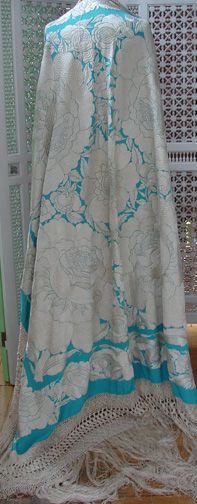 Maria Niforos - Fine Antique Lace, Linens & Textiles : Antique & Vintage Shawls # SH-35 Magnificent 19th C. Turquoise Canton Shawl