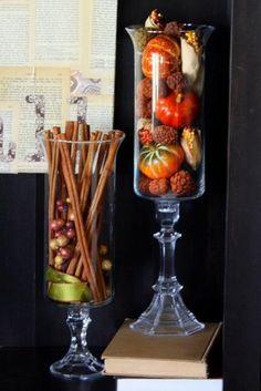 Hurricane Vase Fall Decorating- I like the cinnamon sticks inside! Saw those at hobby lobby!