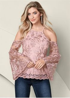 Order a sexy Pale Pink Lace Bell Sleeve Top from VENUS. Shop short sleeve tops, tanks, tees, blouses and more at an affordable price today! Short Lace Dress, Short Dresses, Colored Skinny Jeans, Crop Top Outfits, Stylish Tops, Pink Lace, Pale Pink, Lace Tops, Ladies Dress Design