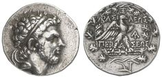 MACEDONIA, Perseus, 179-168 BC, silver tetradrachm, 170 / 168 BC, Aversum: head with diadem to the right, reverse: eagle rises flash to the right, compare Mamroth 24, Sear 6804.15. 39 g (after the start of the War against Rome let Perseus the weight of the tetradrachms at about 1 / 12 lower, so the light weight of this piece is to explain), good very fine    Dealer  Auction house Ulrich Felzmann    Auction  Minimum Bid:  350.00EUR