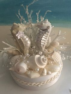 Your place to buy and sell all things handmade Beach Wedding Cake Toppers, Beach Wedding Centerpieces, Wedding Cakes, Seahorse Wedding, Seashell Wedding, Backyard Wedding Pool, Cute Crafts, Diy Crafts, Seashell Crafts