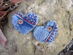 Earrings  Heart Shaped Recycled Polo Jeans by daringmisslassiter,