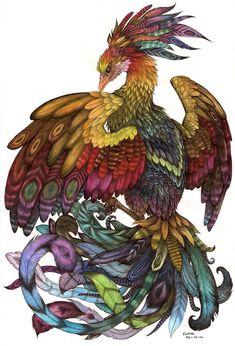 Beautiful phoenix drawing by Liedeke de Bakker on DeviantArt.