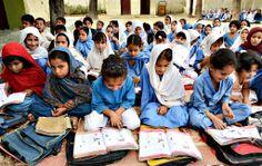 Pakistani girls attend class at a school in Mingora, a town in Swat valley (hometown of Malala Yousufzai). Pakistan