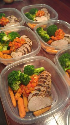 Lean pork tenderloin crusted with fresh sage and thyme, pan seared then roasted. Served with roasted red pepper relish, carrots and steamed broccoli. Just one of four dishes prepared for a n… Lunch Meal Prep, Healthy Meal Prep, Healthy Snacks, Healthy Eating, Healthy Recipes, Weekly Meal Prep, Healthy Everyday Meals, Clean Eating Recipes, Cooking Recipes