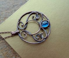 ornament necklace copper plated electroforming by MARIAELA on Etsy, $89.00