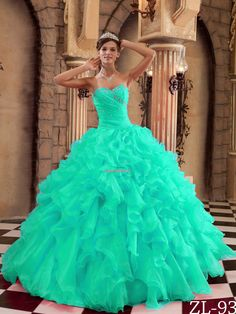 Turquoise Sweetheart Ruffled and Ruffled Quinceanera Dress for 2014