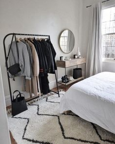 Go Entirely Monochrome - Minimalist bedroom with monochrome grey colors. Keep your bedroom in monochrome shades of grey to make your area feel as calm... Bedroom Goals, Room Decor Bedroom, Bedroom Storage, Bedroom Ideas, Bed Room, Dorm Room, Cheap Furniture, Home Furniture, Bed In Closet