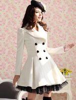 2016 mulheres sarja branca véu colocado trespassado casaco de lã 3 cor