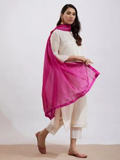 Off White Hand Embroidered Chanderi Kurta with Pants and Pink Dupatta- Set of 3 Salwar Kurta, Kurta Style, Kurta With Pants, Kurta Designs, Indian Ethnic Wear, 3 Online, Purple, Pink, Off White