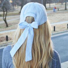 Ladies' seersucker bow back hat