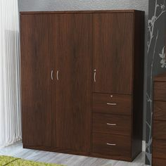 Randolf Walnut-finish and Wardrobe Armoire (Armoires - Brown - Assembly Required) Small Cabinet, Tall Cabinet Storage, Door Storage, Storage Spaces, Storage Room, Shabby Chic Furniture, Modern Furniture, Three Door Wardrobe, Closet Bedroom