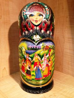 "RUSSIAN COUNTRY SCENES by STEPKAEVA RUSSIAN MATRYOSHKA NESTING DOLL 12 3/4"" 15pc"