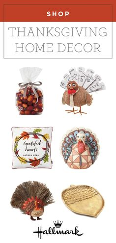 Autumn is here! And with that comes the fall holiday. Before Thanksgiving, check out this collection of home decor items from Hallmark to bring a cozy, fall feel to your space. These turkey, acorn, and leaf decorations are all cute as can be! Thanksgiving Gifts, Home Decor Items, Acorn, Fall Crafts, Scented Candles, Activities For Kids, Decorative Plates, Turkey, Decorations