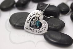 Hand Stamped Wedding/Anniversary Necklace by MyHeroCreations, $21.00